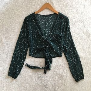 Brandy Melville green floral Coco wrap top